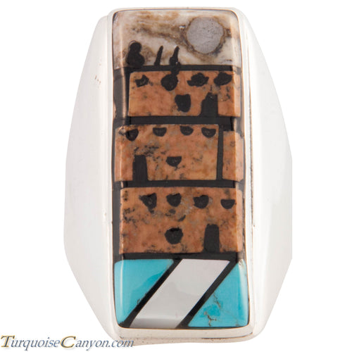 Zuni Native American Pueblo Design Inlay Ring Size 9 1/4 by Booqua SKU227257