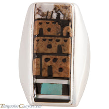 Load image into Gallery viewer, Zuni Native American Pueblo Design Inlay Ring Size 10 by Booqua SKU227258