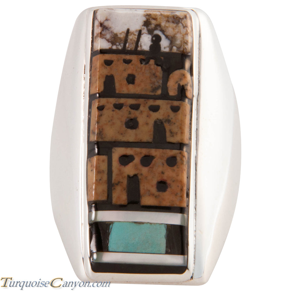 Zuni Native American Pueblo Design Inlay Ring Size 10 by Booqua SKU227258