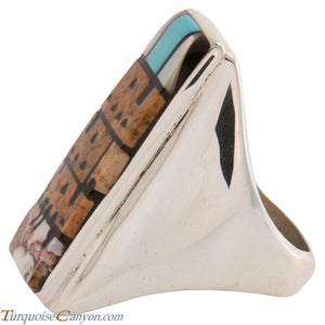 Zuni Native American Pueblo Design Inlay Ring Size 10 by Booqua SKU227259