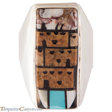 Load image into Gallery viewer, Zuni Native American Pueblo Design Inlay Ring Size 10 by Booqua SKU227259