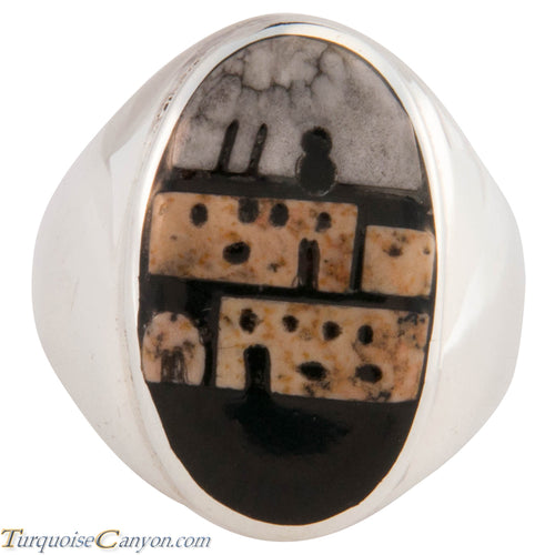 Zuni Native American Pueblo Design Inlay Ring Size 10 by Booqua SKU227260