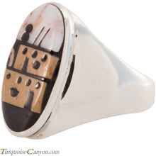 Load image into Gallery viewer, Zuni Native American Pueblo Design Inlay Ring Size 10 by Booqua SKU227261