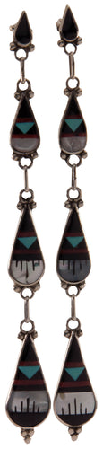 Zuni Native American Turquoise and Red Coral Inlay Earrings SKU227281