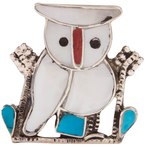 Zuni Native American Owl Pin and Pendant by Pitkin Natewa SKU227331