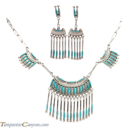 Zuni Native American Needle Point Turquoise Necklace and Earrings SKU227392