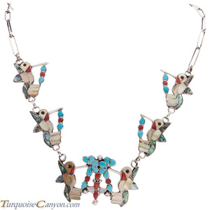 Zuni Native American Turquoise Hummingbird Necklace and Earrings SKU227394