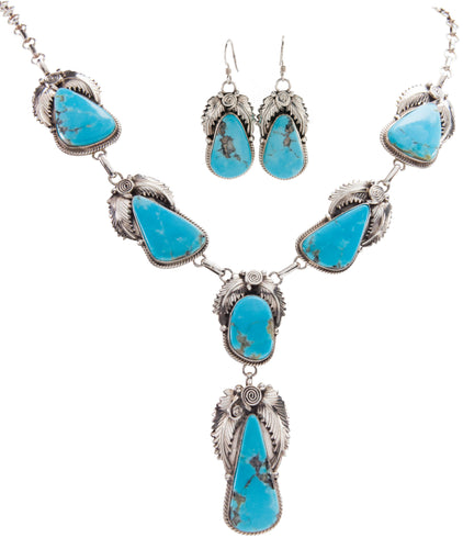 Navajo Native American Turquoise Mountain Necklace and Earrings SKU227398