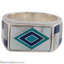 Load image into Gallery viewer, Navajo Native American Turquoise and Lapis Ring Size 10 by Benally SKU227410