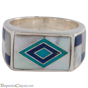 Navajo Native American Turquoise and Lapis Ring Size 10 by Benally SKU227410