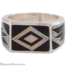 Load image into Gallery viewer, Navajo Native American Lab Opal and Onyx Ring Size 10 3/4 by Benally SKU227412