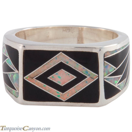 Navajo Native American Lab Opal and Onyx Ring Size 10 3/4 by Benally SKU227412