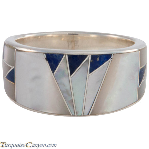 Navajo Native American Lapis and Mother of Pearl Ring Size 10 1/4 SKU227416