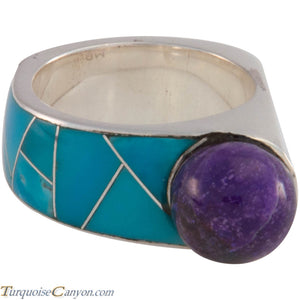 Navajo Native American Turquoise and Sugilite Ring Size 8 1/4 SKU227418