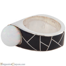 Load image into Gallery viewer, Navajo Native American Onyx and Lab Opal Ring Size 7 3/4 by Benally SKU227419