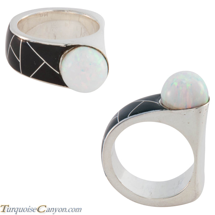 Navajo Native American Onyx and Lab Opal Ring Size 7 3/4 by Benally SKU227419