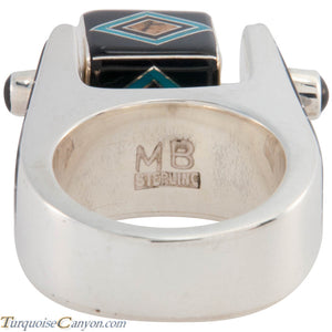 Navajo Native American Turquoise and Black Jade Ring Size 9 1/2 SKU227421