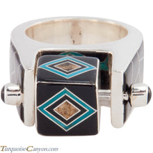 Load image into Gallery viewer, Navajo Native American Turquoise and Black Jade Ring Size 9 1/2 SKU227421