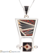 Load image into Gallery viewer, Navajo Native American Jet and Lab Opal Pendant Necklace by Benally SKU227422