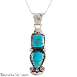 Navajo Native American Blue Gem Turquoise Pendant Necklace SKU227533
