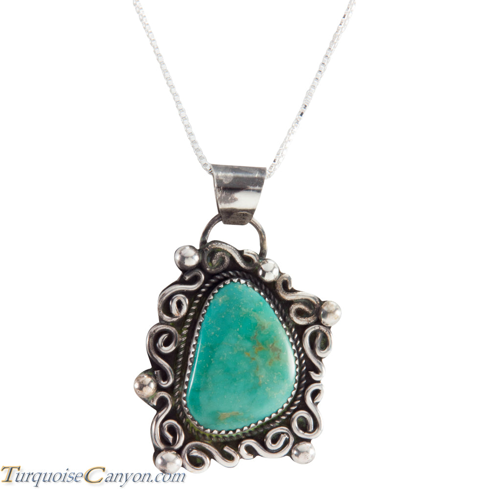 Navajo Native American Carico Lake Turquoise Pendant Necklace SKU227579
