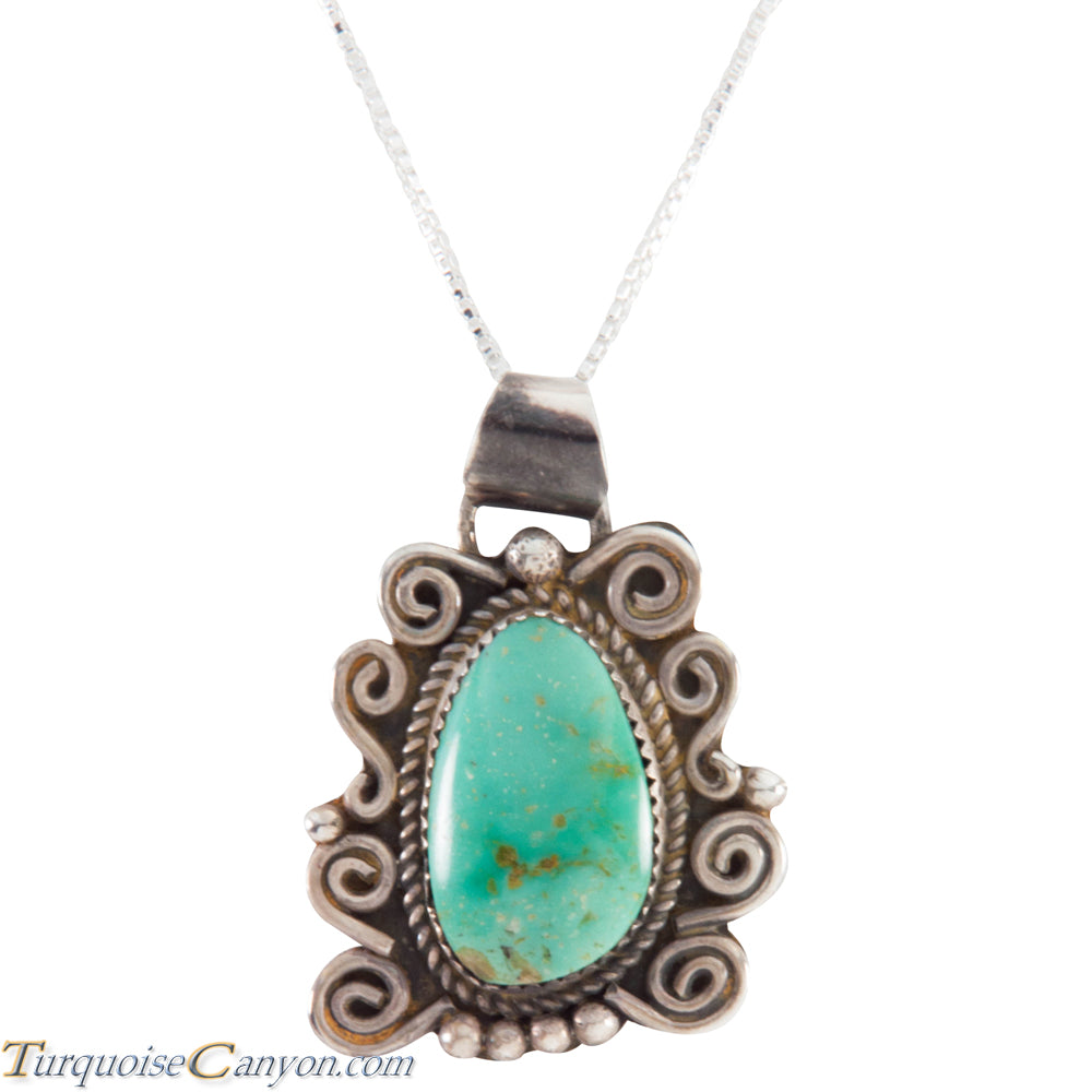 Navajo Native American Carico Lake Turquoise Pendant Necklace SKU227582