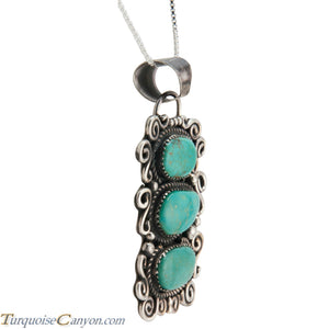 Navajo Native American Carico Lake Turquoise Pendant Necklace SKU227590