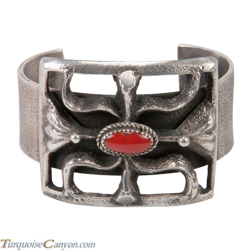 Navajo Native American Tufa Cast and Coral Bracelet by Stuart Billie SKU227599