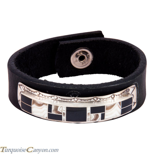 Navajo Native American Dolomite and Black Jade Leather Bracelet SKU227675