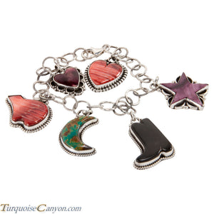 Navajo Native American Turquoise and Shell Charm Bracelet SKU227706