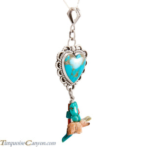 Navajo Native American Turquoise Heart with Charms Pendant Necklace SKU227720
