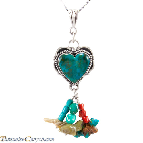 Navajo Native American Turquoise Heart with Charms Pendant Necklace SKU227721