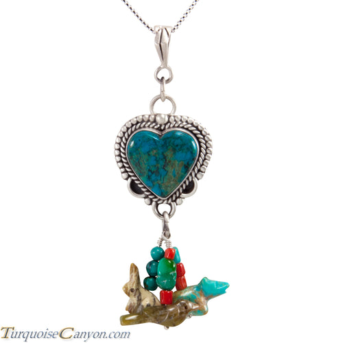 Navajo Native American Chrysocolla Heart and Charms Pendant Necklace SKU227722