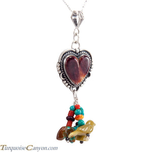 Navajo Native American Purple Shell and Charms Necklace Pendant SKU227723