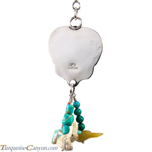 Navajo Native American Coral Heart and Charms Pendant Necklace SKU227725