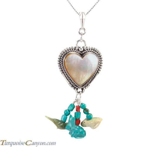Navajo Native American Yellow Shell Heart Pendant Necklace SKU227727