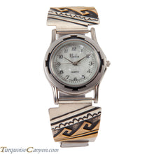 Load image into Gallery viewer, Navajo Native American Silver and Gold Watch Tips by T Singer SKU227732