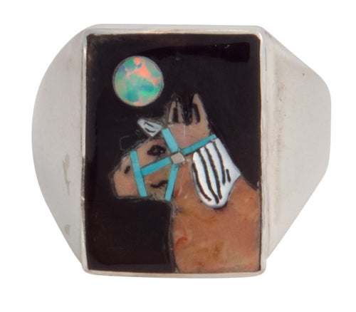 Zuni Native American Horse Inlay Ring Size 12 by Bobby Conch SKU227818