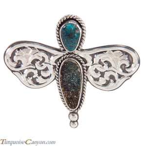 Navajo Native American Dragonfly Pin with Drussy and Turquoise SKU227872
