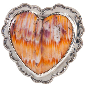 Santo Domingo Orange Shell Heart Pin Pendant by James & Doris Coriz SKU227877