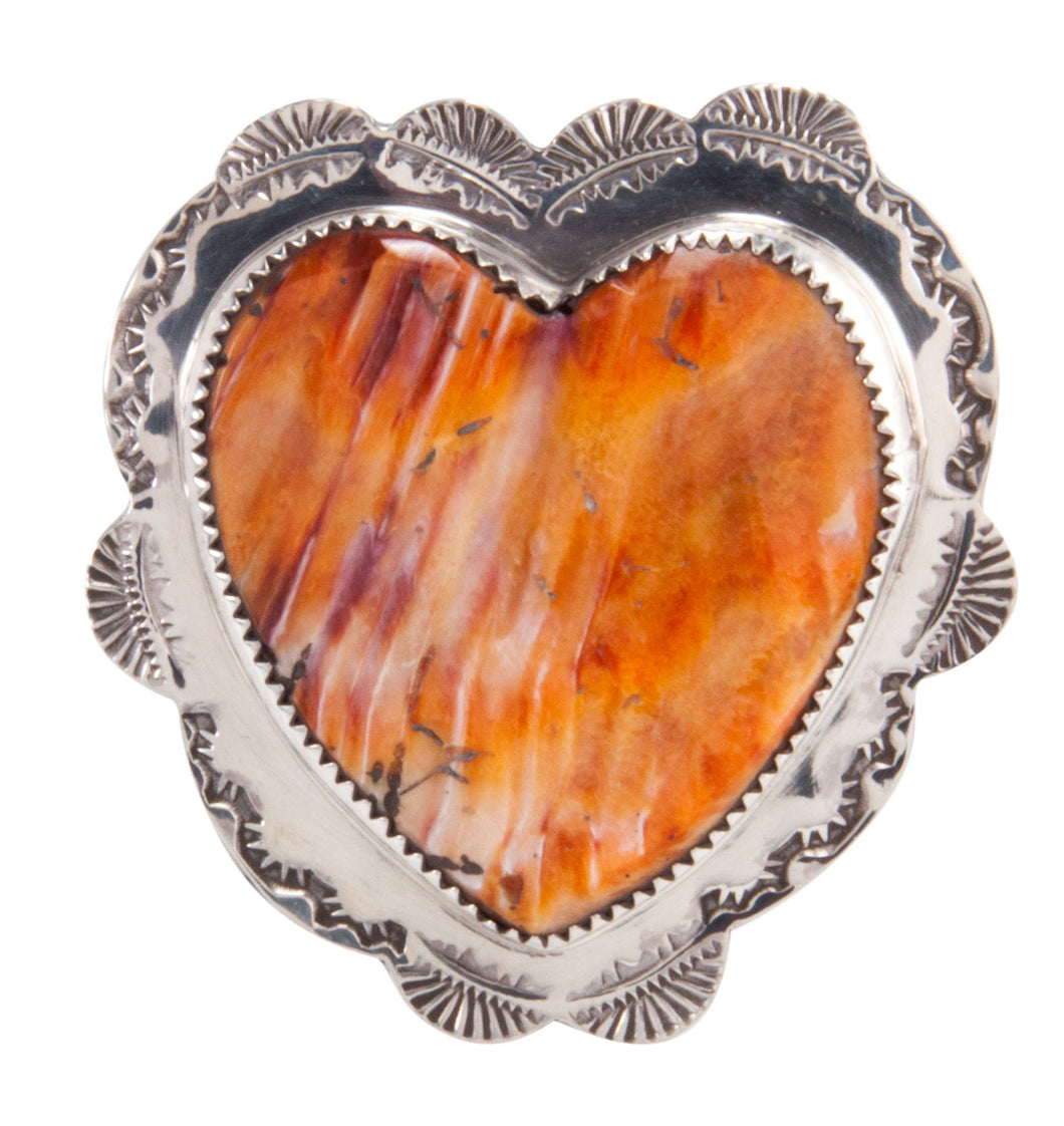 Santo Domingo Orange Shell Heart Pin Pendant by James & Doris Coriz SKU227878