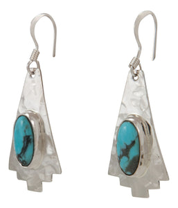 Navajo Native American Turquoise and Sterling Silver Earrings SKU227947