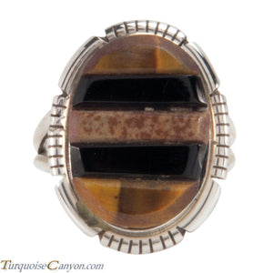 Navajo Native American Corn Roll Cut Jasper and Jet Ring Size 6 3/4 SKU227964