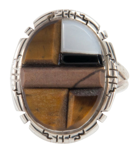 Navajo Native American Corn Roll Cut Jasper and Jet Ring Size 7 3/4 SKU227965