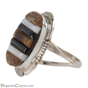 Navajo Native American Corn Roll Cut Jasper and Jet Ring Size 5 1/4 SKU227966