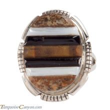 Load image into Gallery viewer, Navajo Native American Corn Roll Cut Jasper and Jet Ring Size 5 1/4 SKU227966