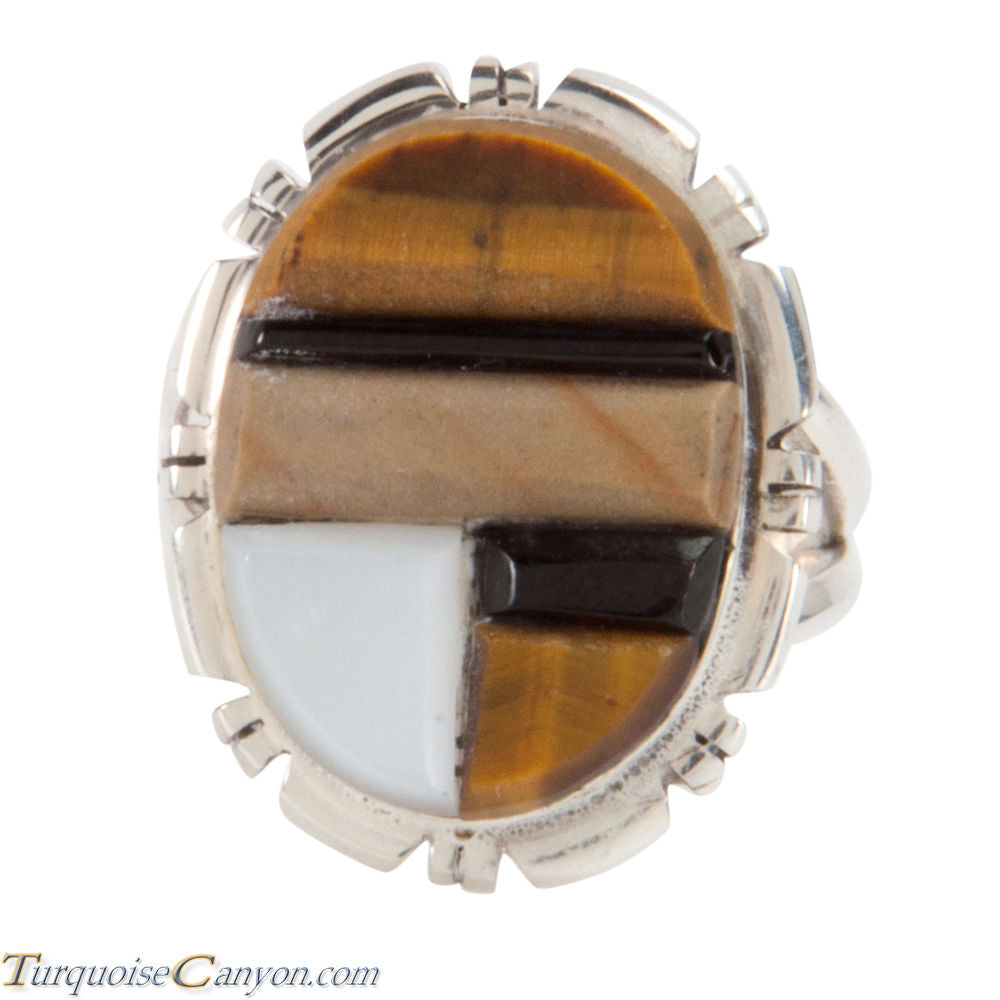 Navajo Native American Corn Roll Cut Jasper and Jet Ring Size 5 3/4 SKU227968