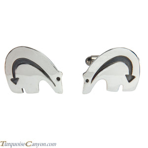 Navajo Native American Sterling Silver Bear Cuff Links by Teller SKU227979