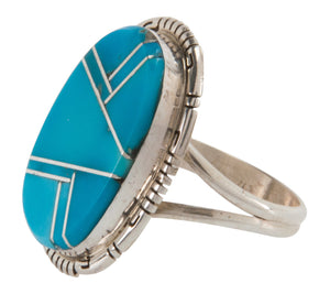 Navajo Native American Sleeping Beauty Turquoise Ring Size 8 3/4 SKU228066