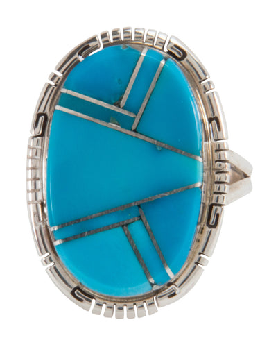 Navajo Native American Sleeping Beauty Turquoise Ring Size 8 3/4